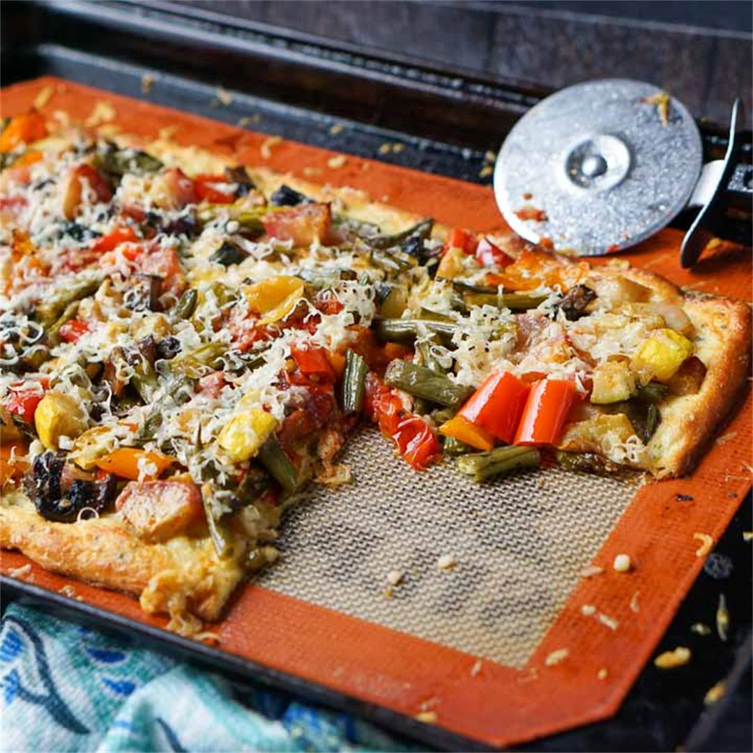 Low Carb Roasted Vegetables Flatbread Pizza