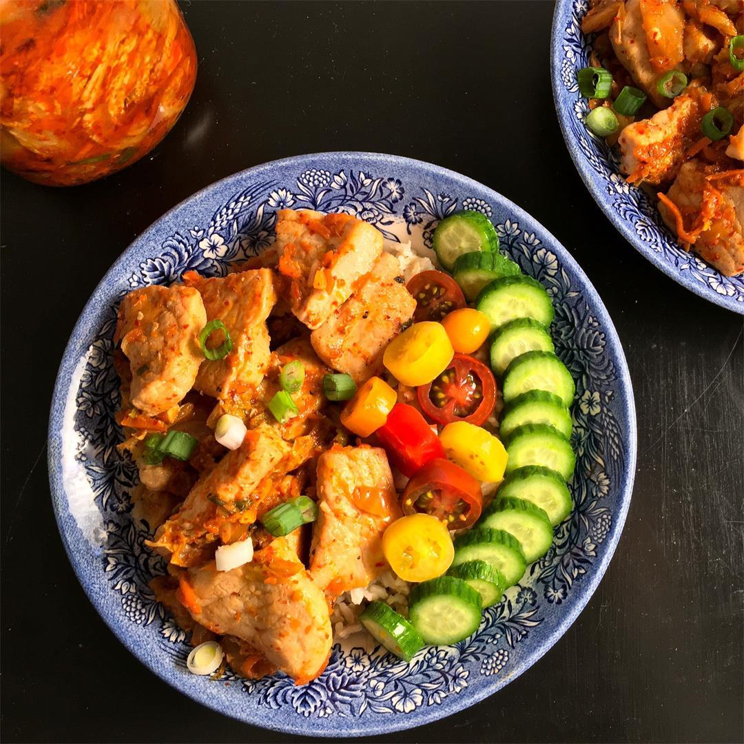 Kimchi Pork Stir Fry (Easy Recipe!)