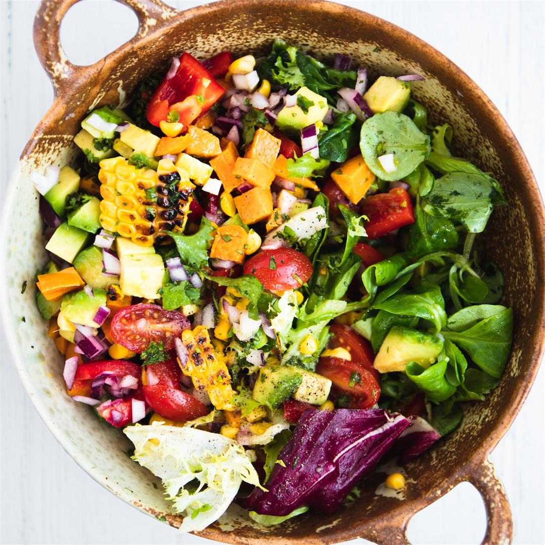 Grilled Corn Salad with Avocado