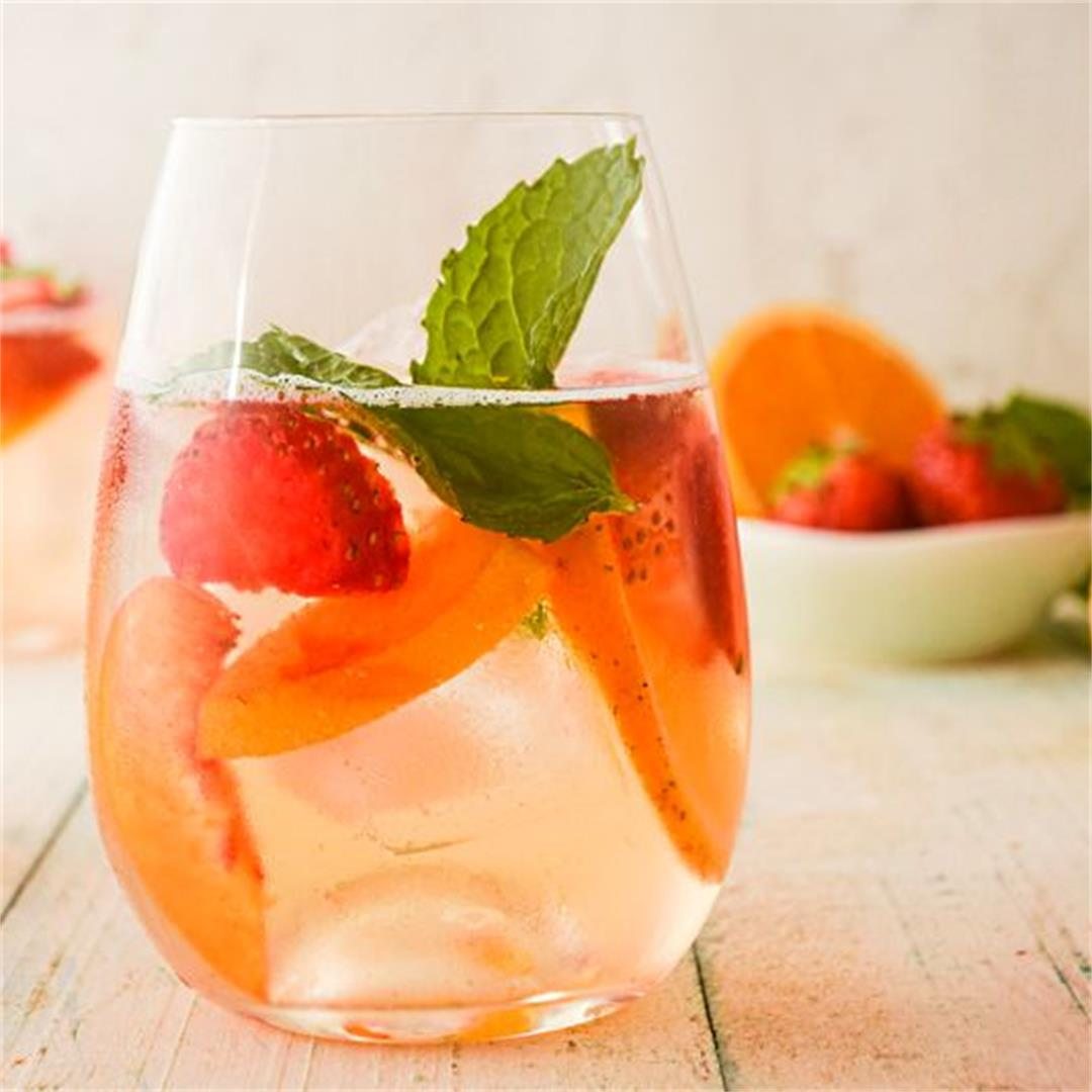 Spring White Wine Sangria with Fresh Peppermint