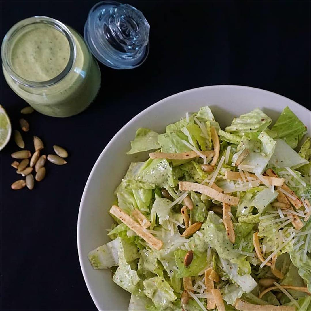 Mexican Caesar Salad with Cilantro Lime and Pepitas