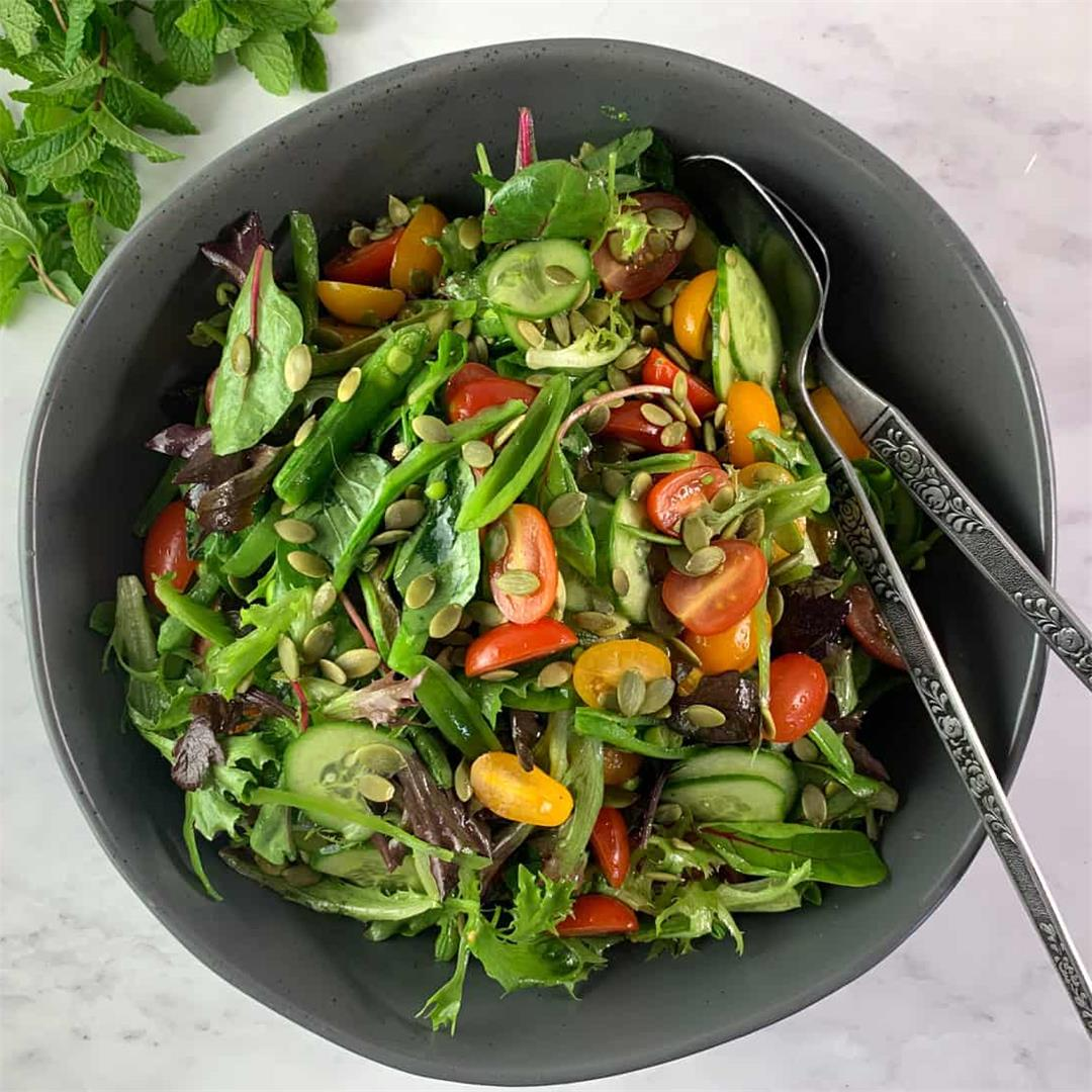 Spring Mix Salad with Crunchy Peas & Seeds