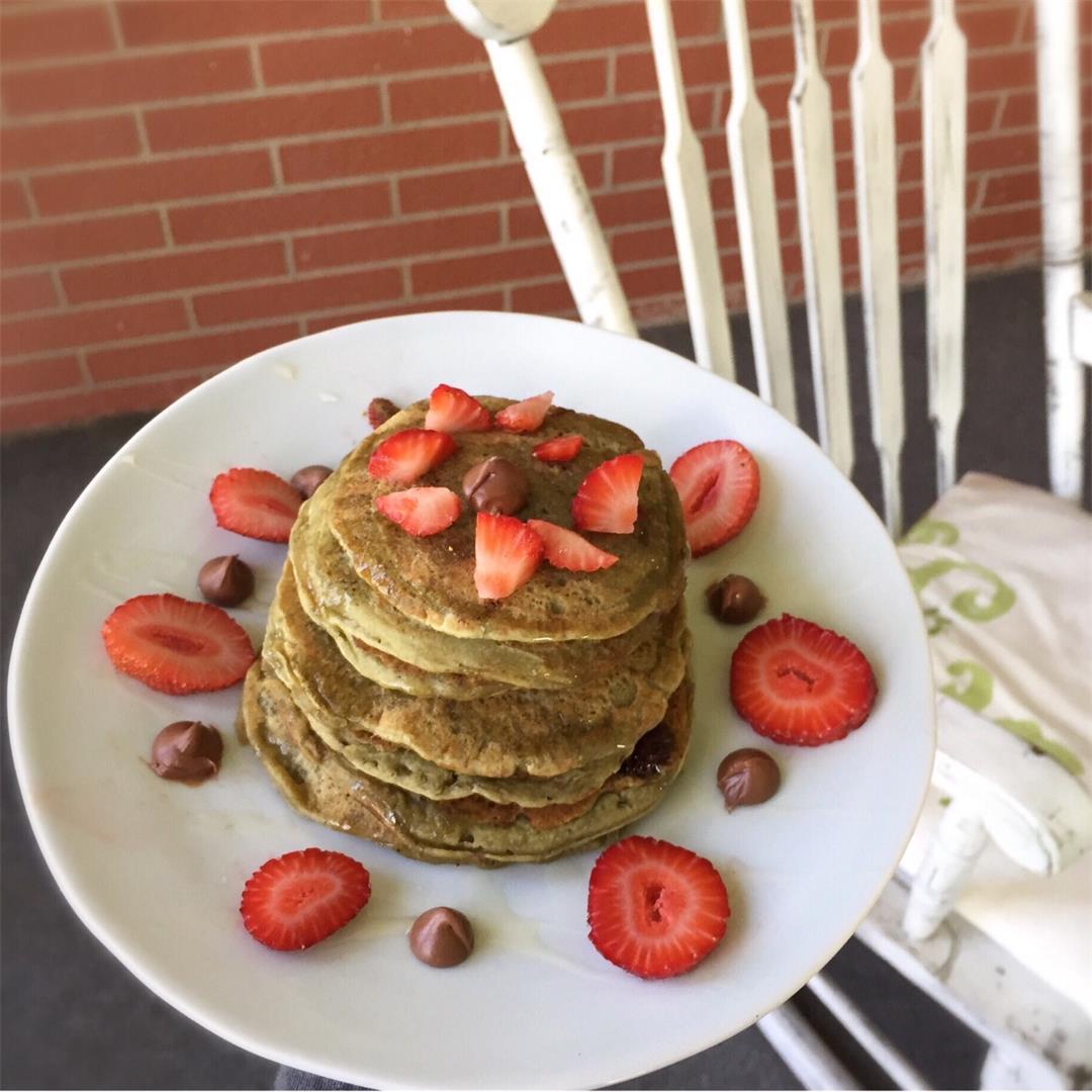Matcha Green Tea Chocolate Chip Pancakes (Vegan)