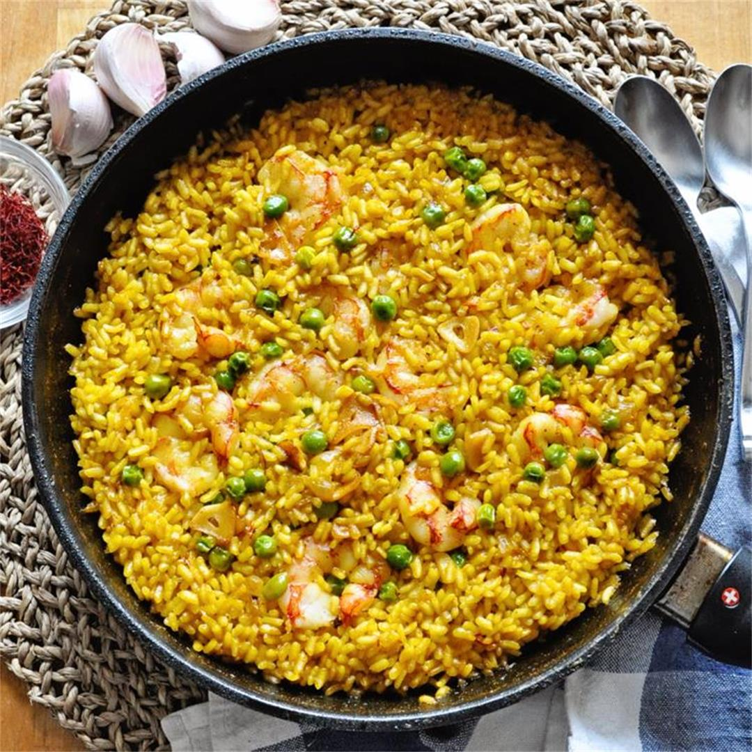 Spanish Saffron Rice with Garlic Shrimp