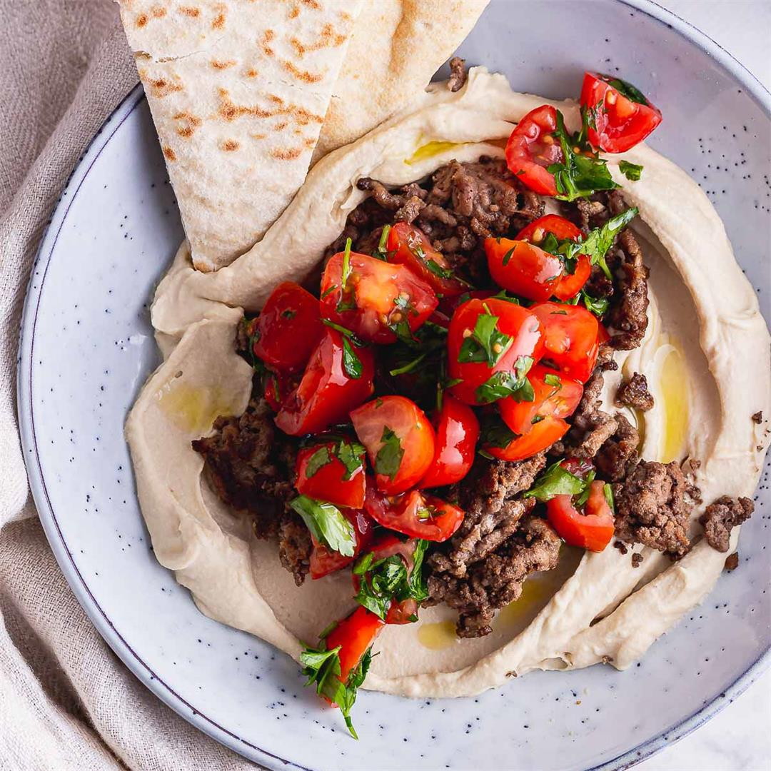 Spiced Beef Hummus Bowls