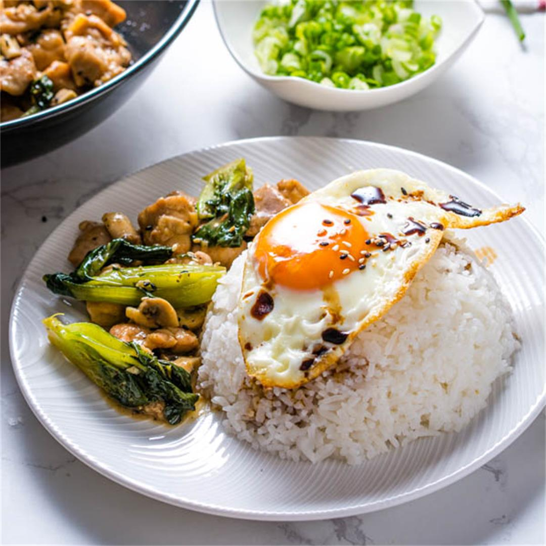 Stir-Fried Ginger Sesame Chicken with Bok Choy