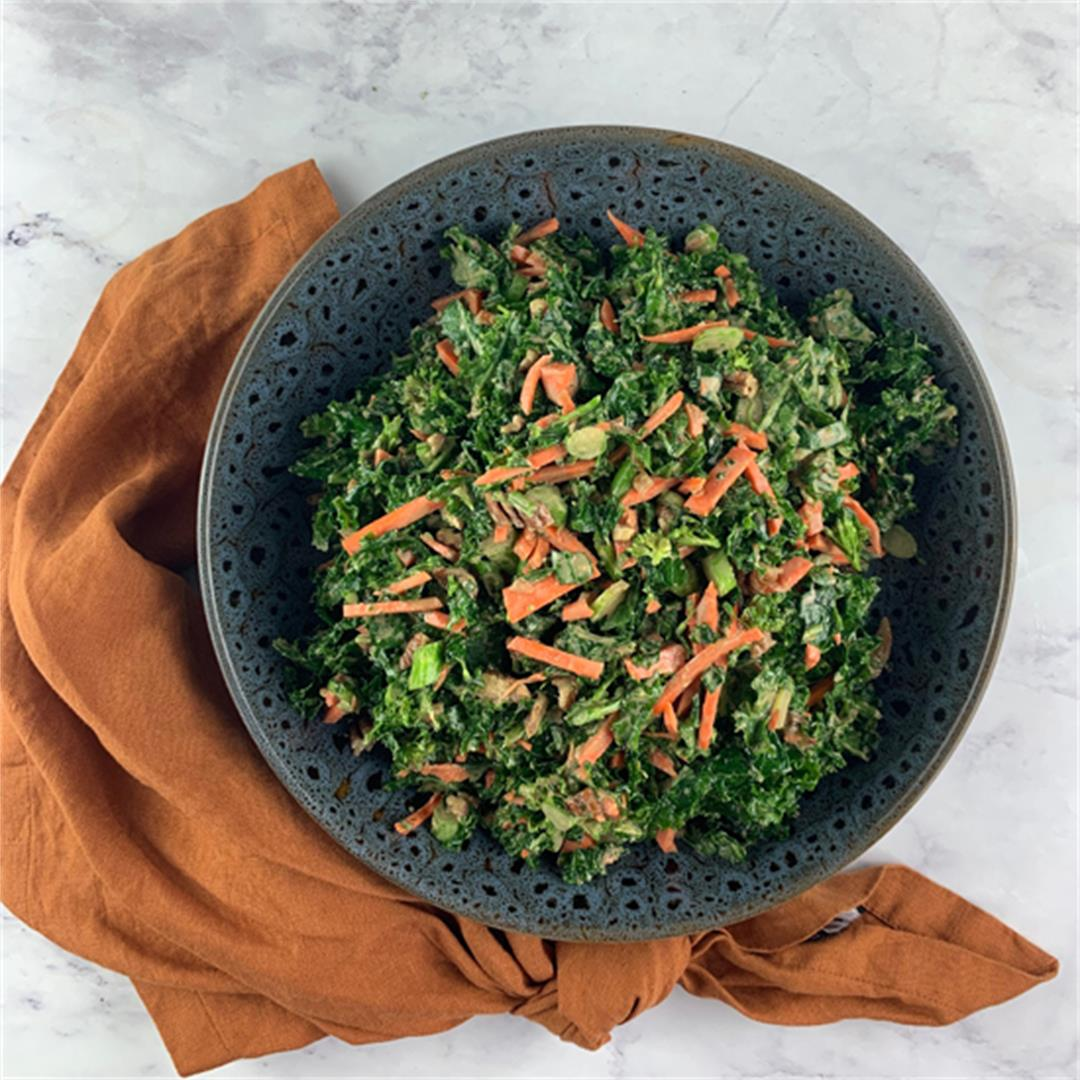 Kale and Broccoli Salad with Creamy Balsamic