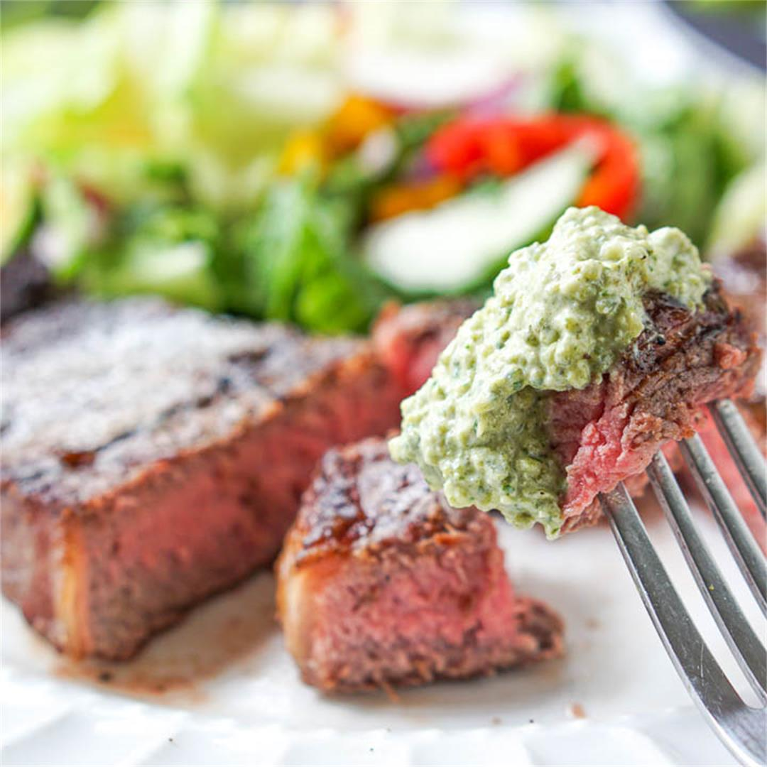 Steaks with Keto Creamy Grilled Poblano Sauce