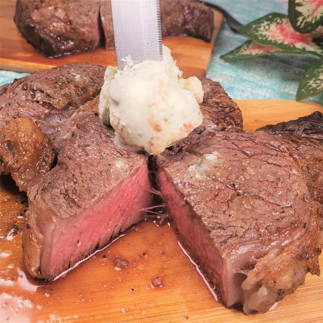 The BEST Air Fryer Rib Eye Steak with Blue Cheese Butter!