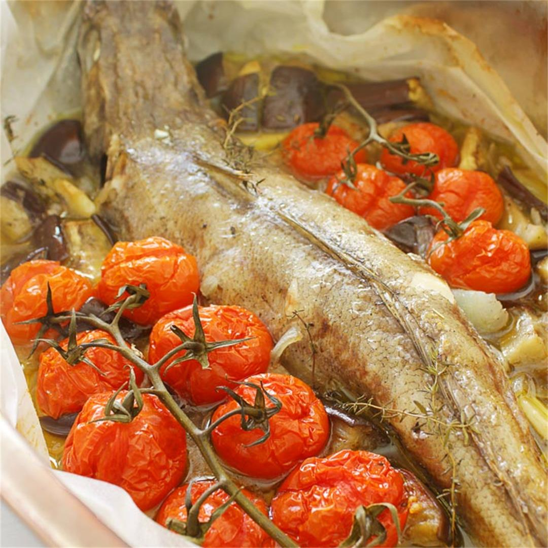 Parchment Baked Cod with Eggplant and Vine Tomato