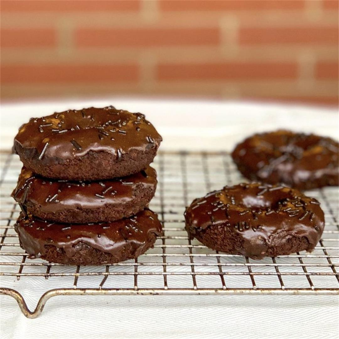 Baked Double Chocolate Donuts (Vegan)