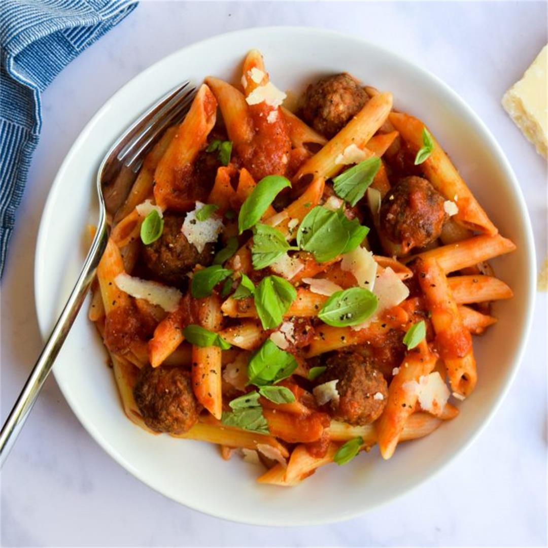 Penne and Mini Meatballs in Tomato Sauce