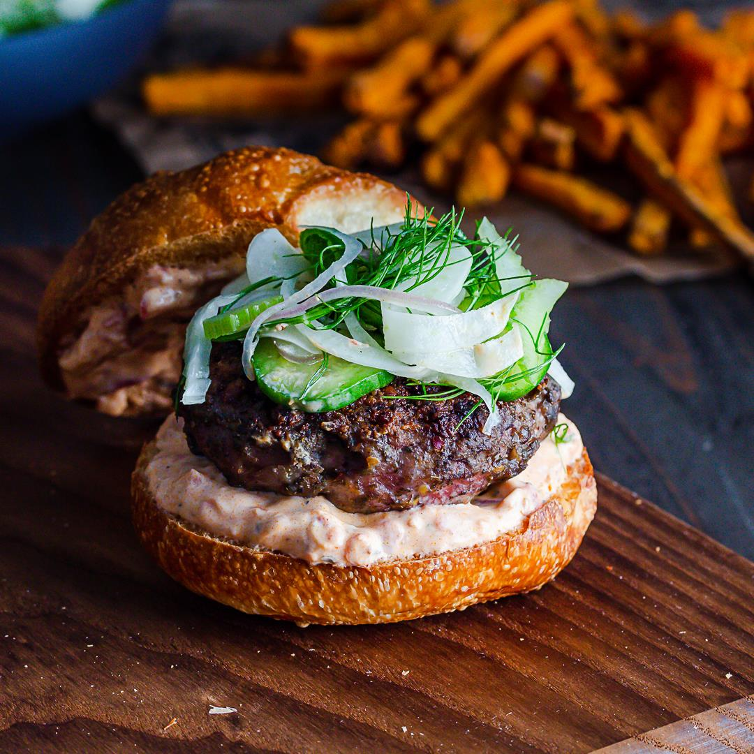 Spiced Lamb Burger with Fennel Cucumber & Celery Slaw