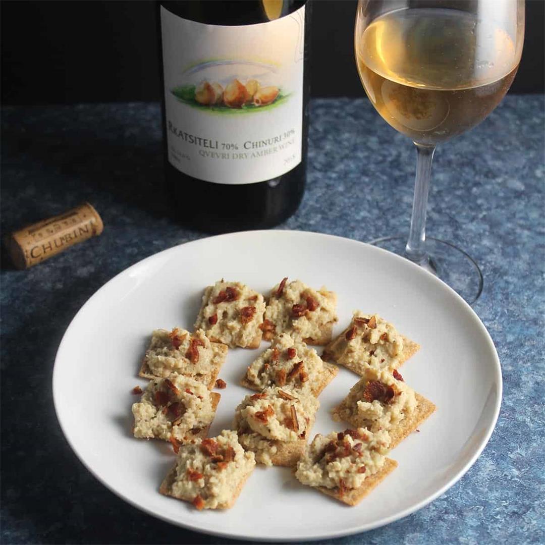 Cauliflower Bacon Spread with Amber Wine From Georgia #winePW