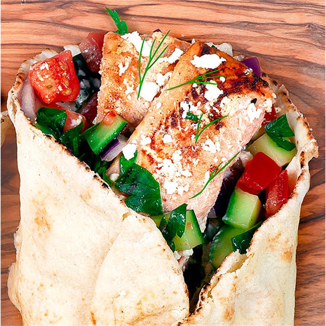 Salmon Gyro - The Best Gyro Sandwich Recipe (Video) - Key To My