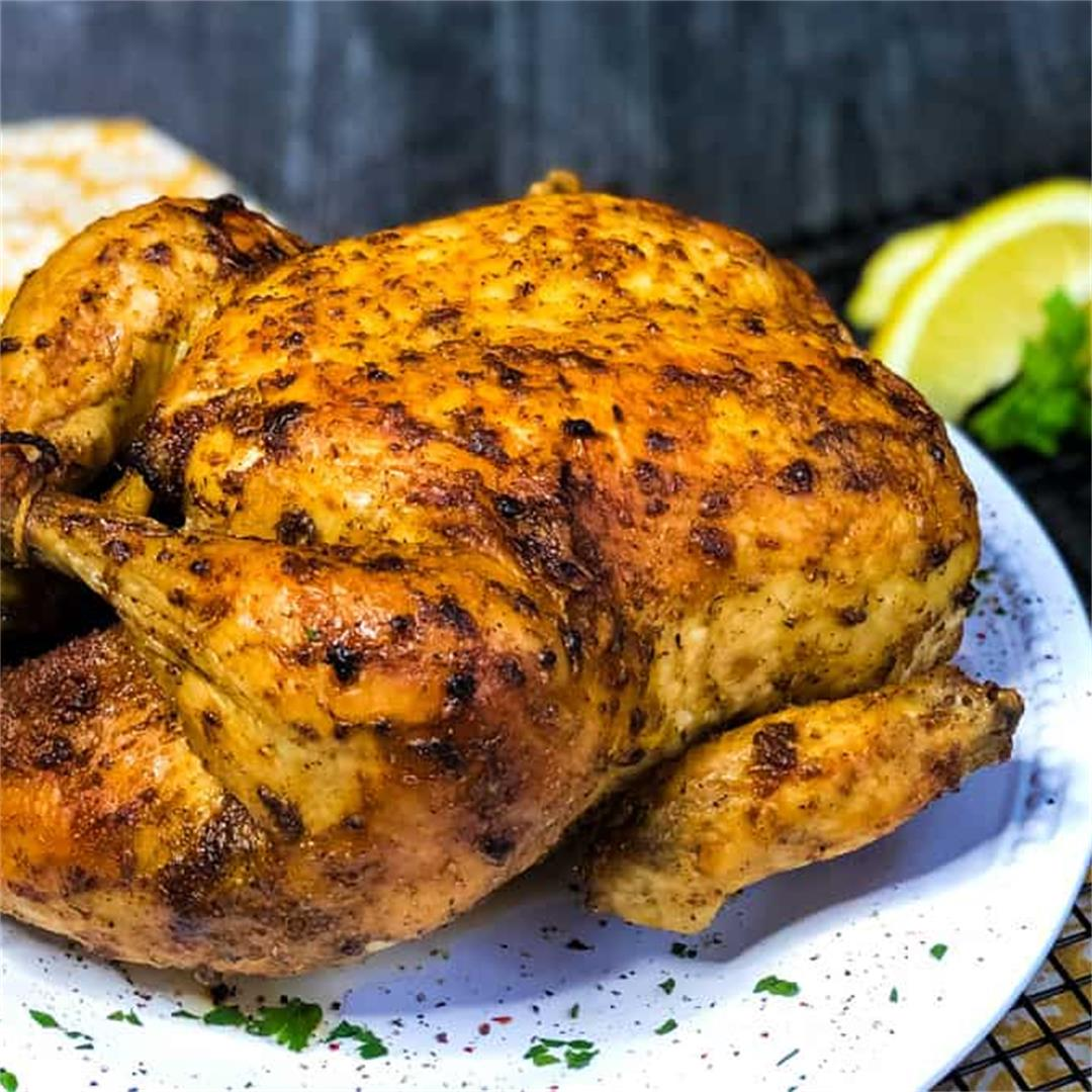 Air Fryer Whole Chicken with Lemon and Thyme