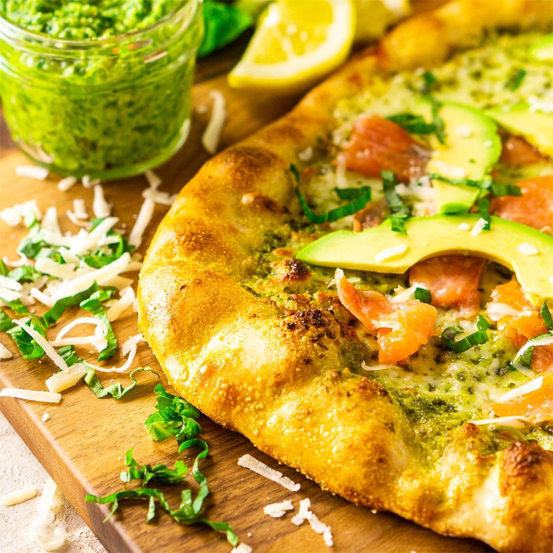 Smoked Salmon, Avocado and Pesto Pizza