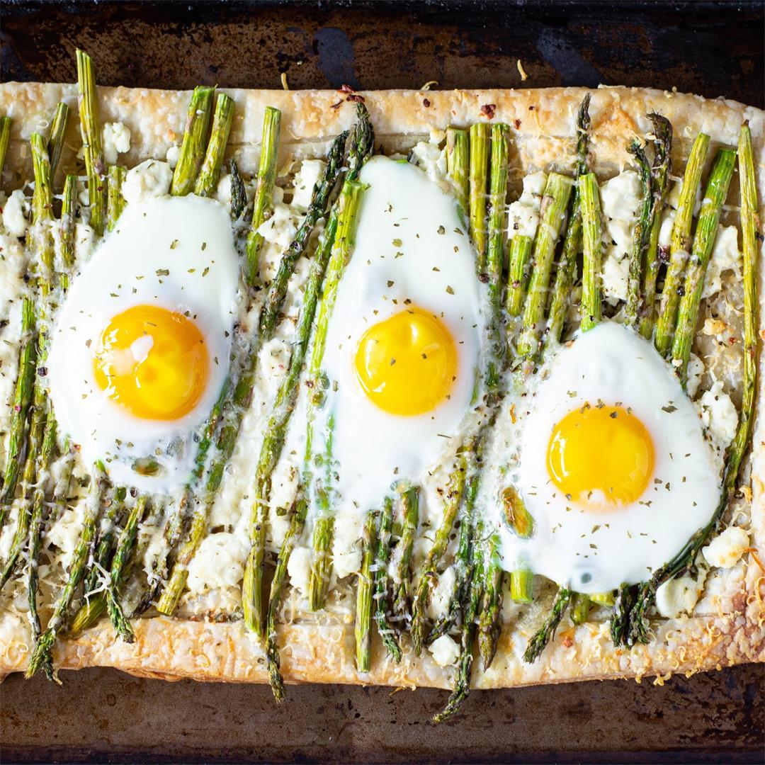 Goat Cheese, Egg, & Asparagus Tart