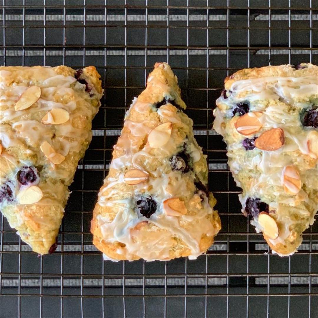 Blueberry Almond Scones With Almond Glaze (Vegan)