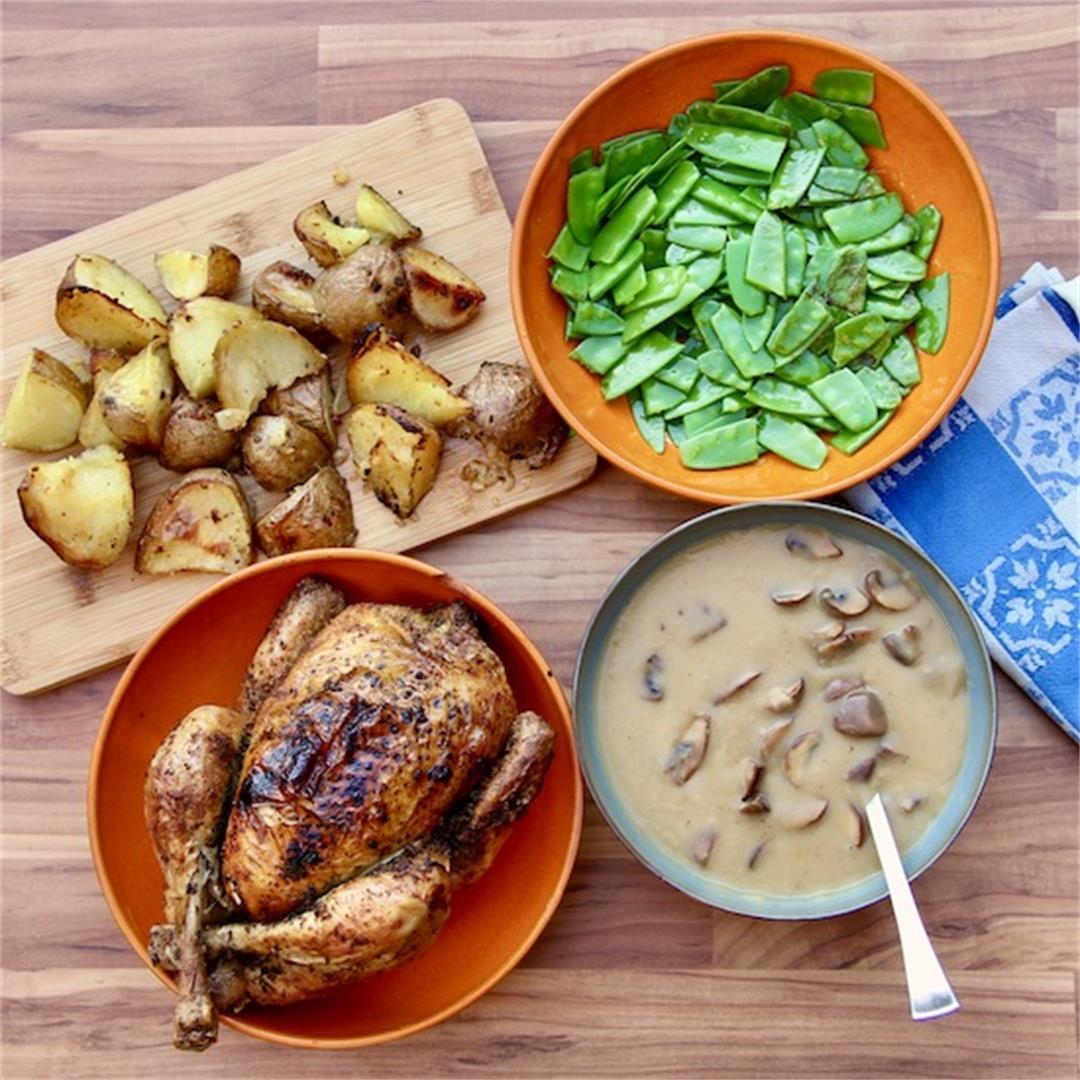 Roast Chicken Dinner – with Mushroom Gravy