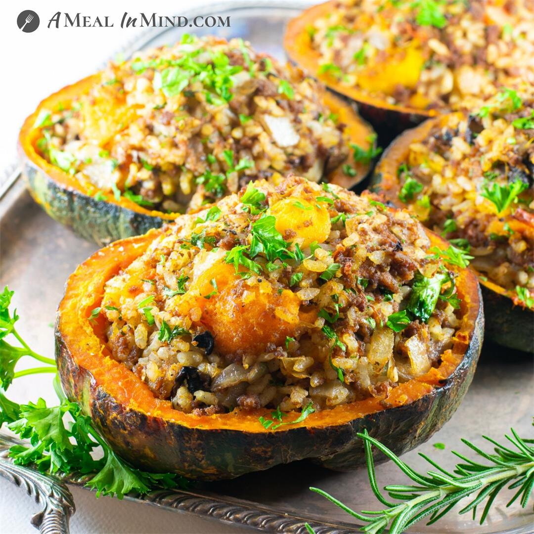 Ground Beef-Stuffed Kabocha Squash