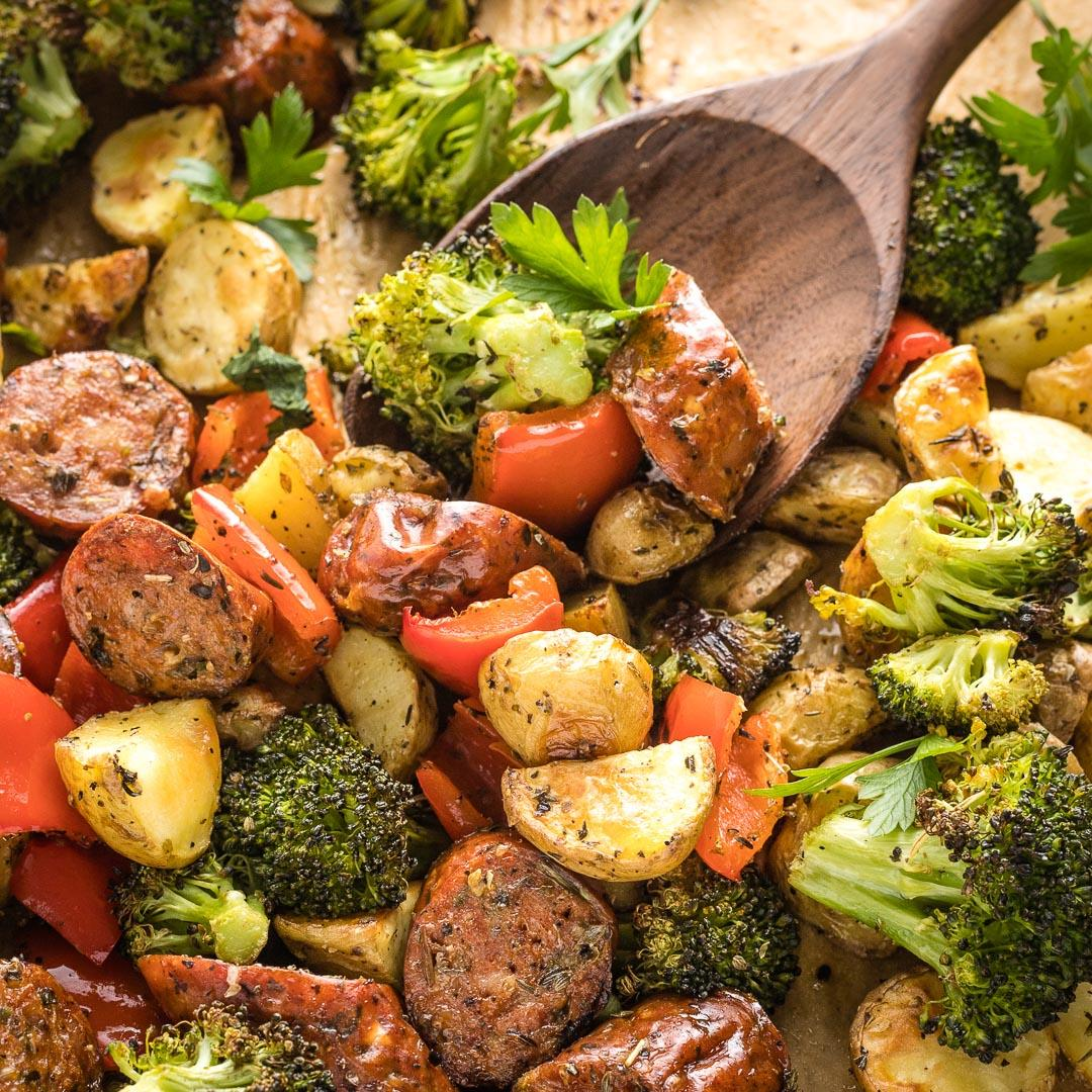Sheet Pan Chicken Sausage with Broccoli, Peppers, and Potatoes