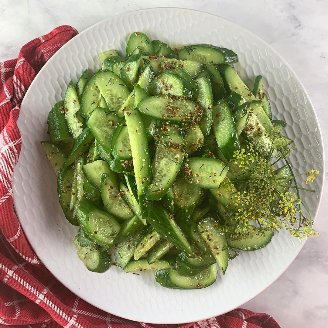 Vegan Cucumber Salad with Dill & Tangy Mustard Vinaigrette