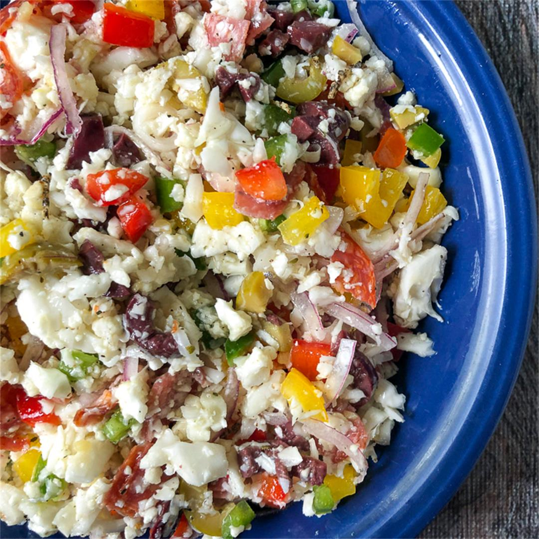 Low Carb Antipasto Cauliflower Rice Salad