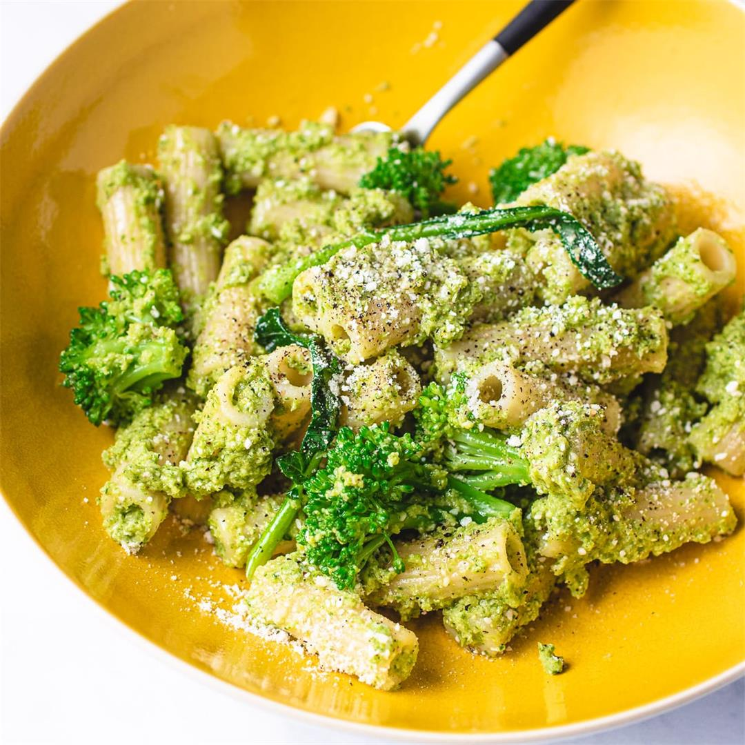 Easy Broccoli Pesto Pasta Salad (Healthy, Gluten-free, Vegan)