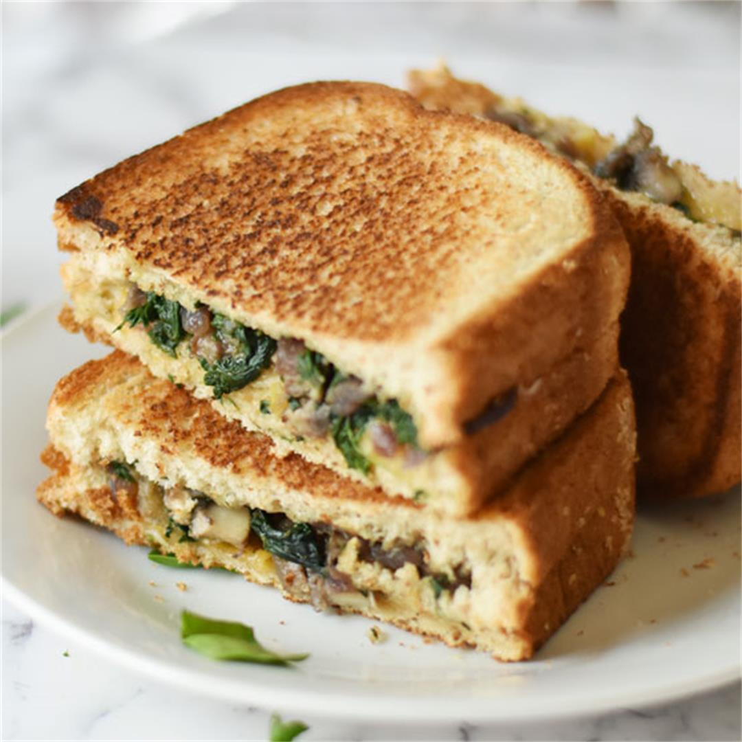 Vegan Mushroom Onion And Spinach Sandwich Recipe