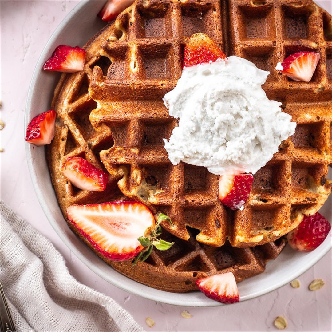 3-Ingredient Oatmeal Waffles (vegan, gluten-free)