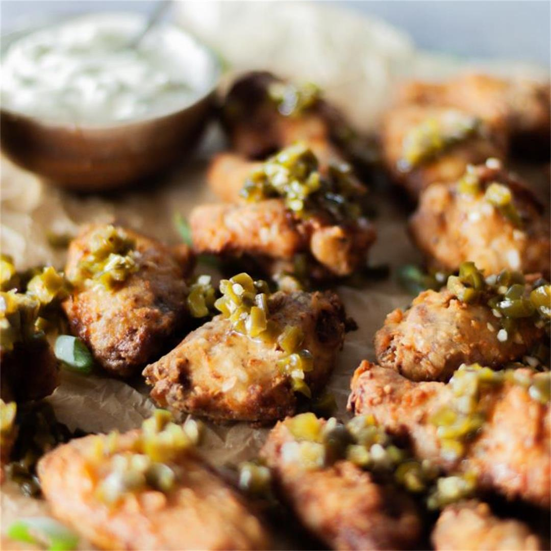 Dirty Fried Wings with Candied Jalapenos and Spring Onion Crema