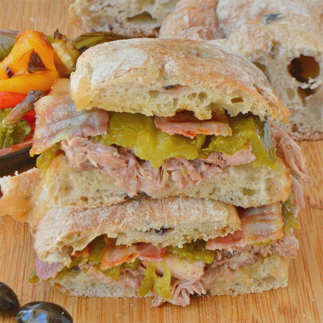 Grilled Peppers, Pancetta & Pork Ciabatta