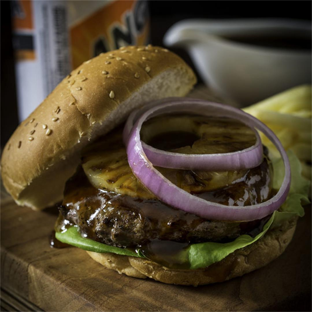 Spicy Teriyaki Burger with Grilled Pineapple