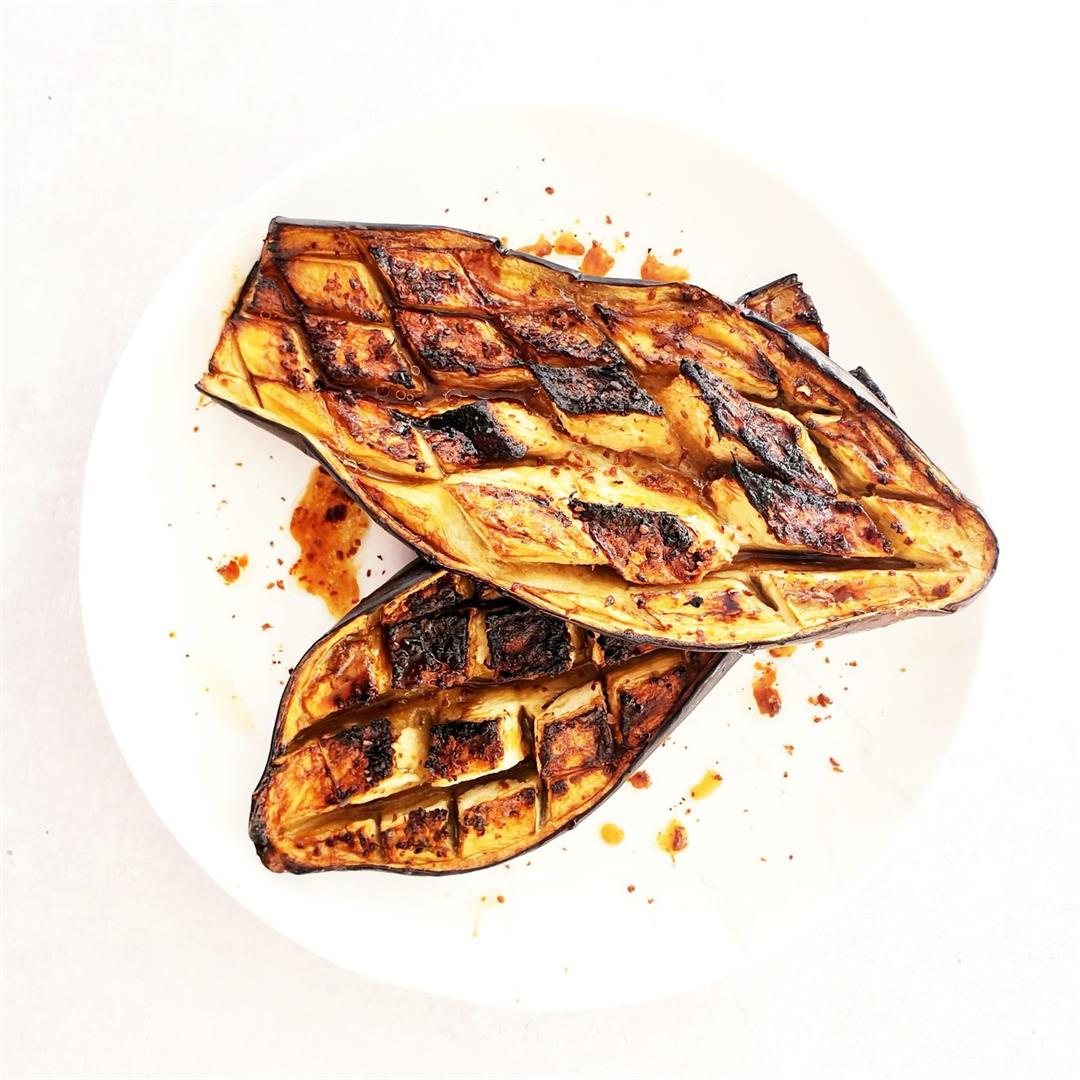 Roasted Aubergine with Pomegranate Molasses (Vegan)
