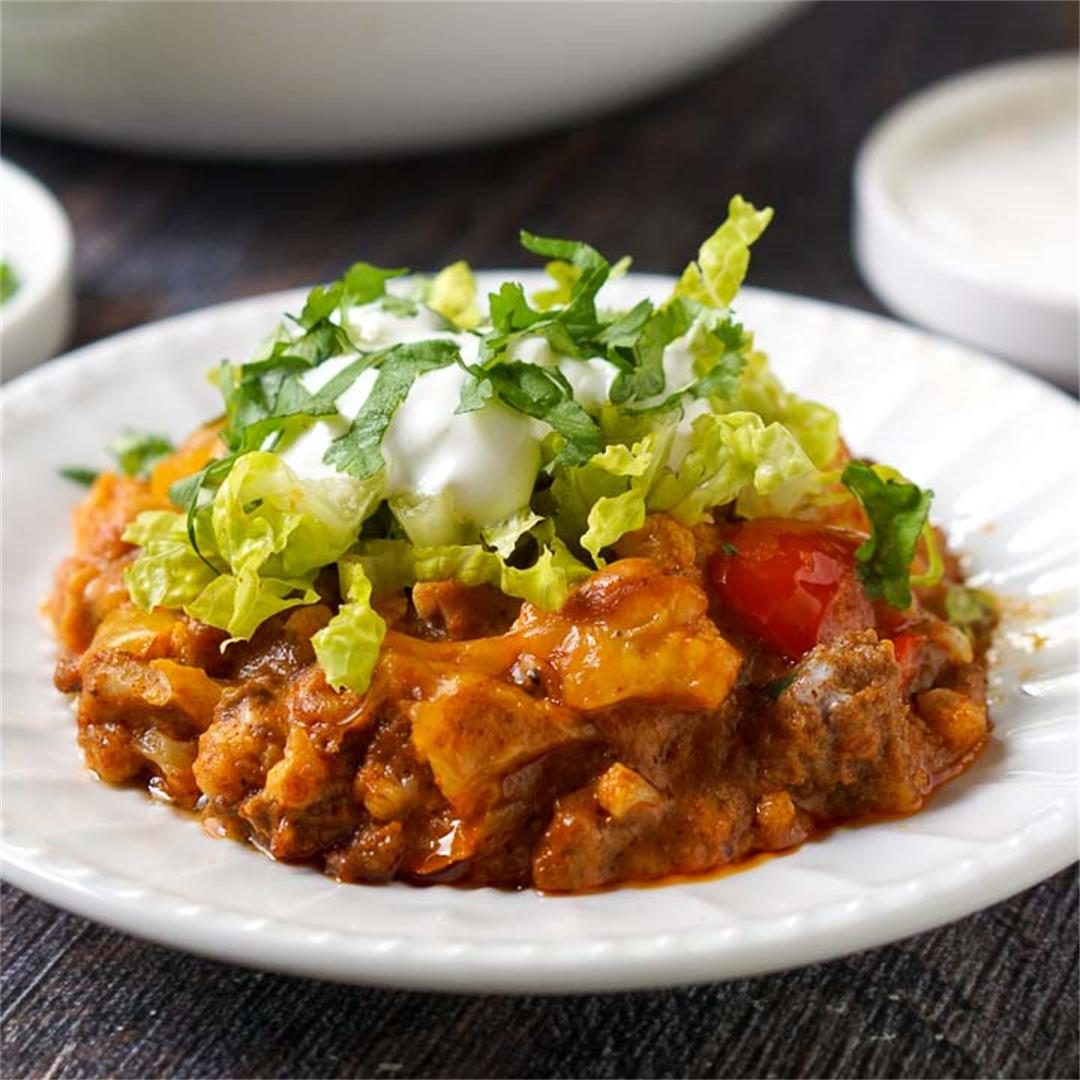Slow Cooker Keto Taco Ground Beef Casserole