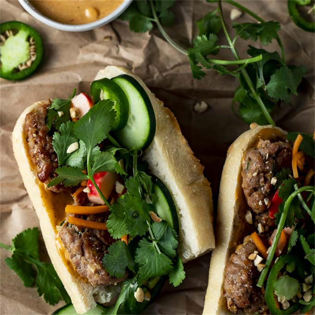 Vietnamese Banh Mi with Pork Meatballs