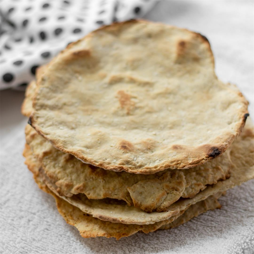 No-Yeast Flatbread (vegan, oil-free, gluten-free option)