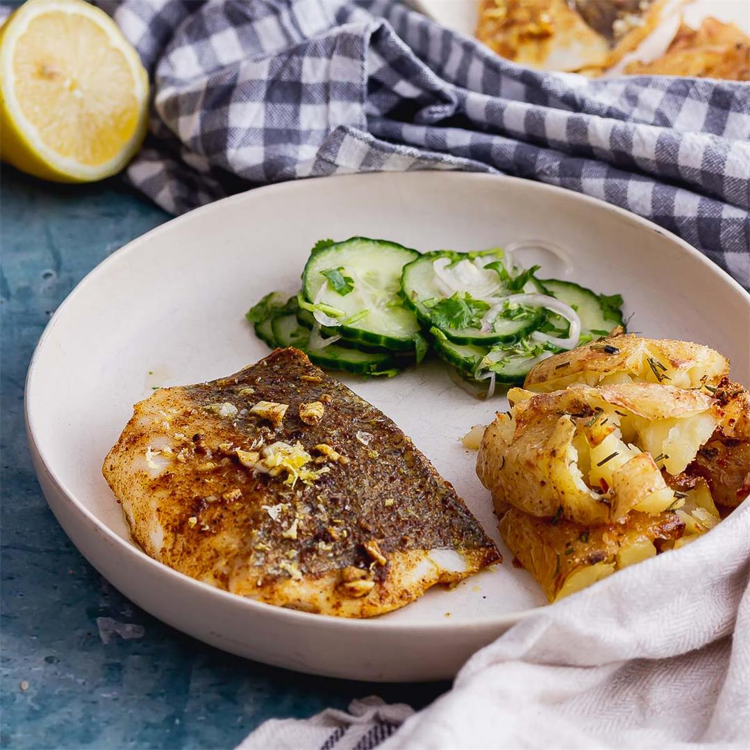 Spiced Baked Fish with Cucumber Salad