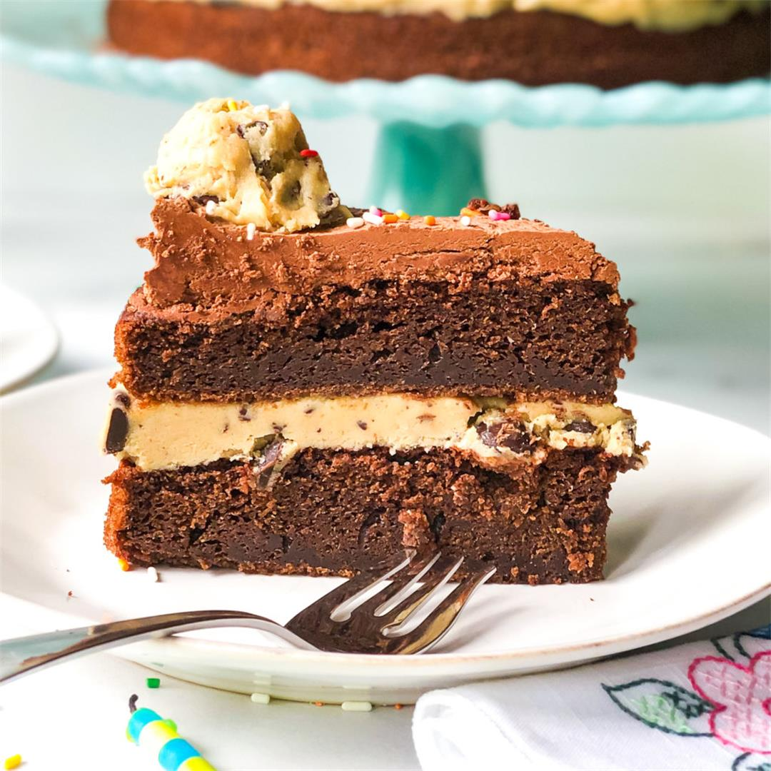Chocolate Cake with Chocolate Chip Cookie Dough Filling