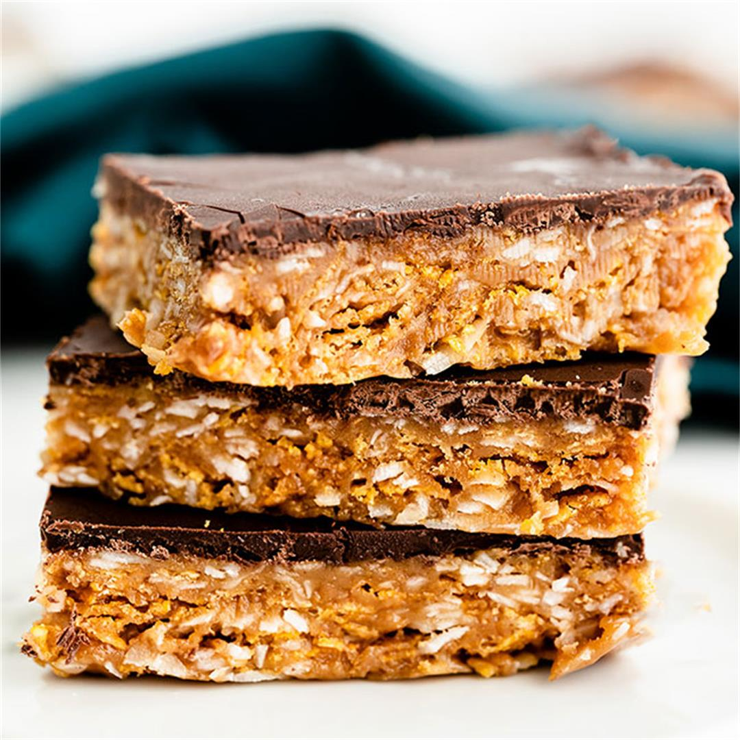 Peanut Butter Crunch Bars (gluten-free, vegan options)