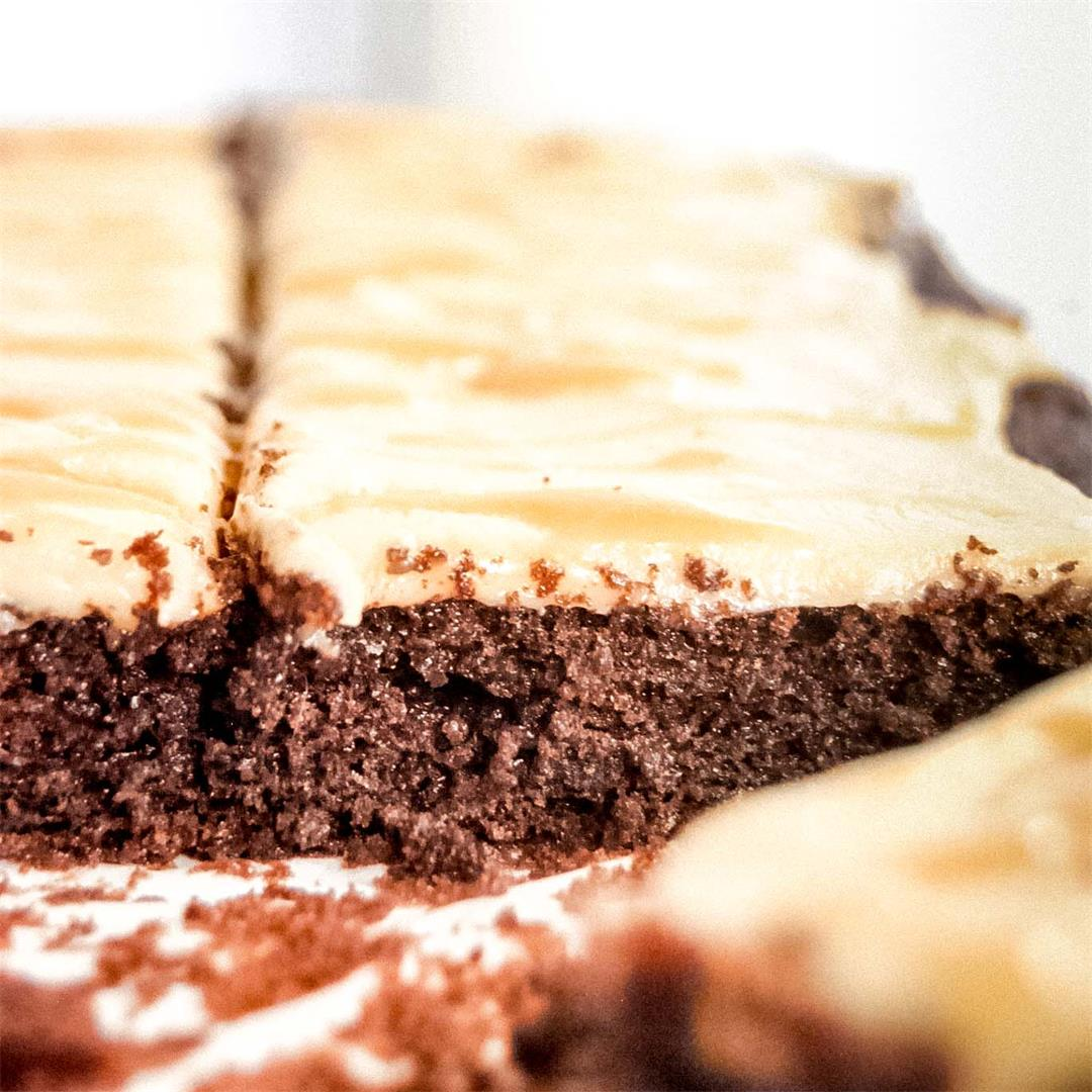 Chocolate Quarter Sheet Cake with Salted Caramel Frosting