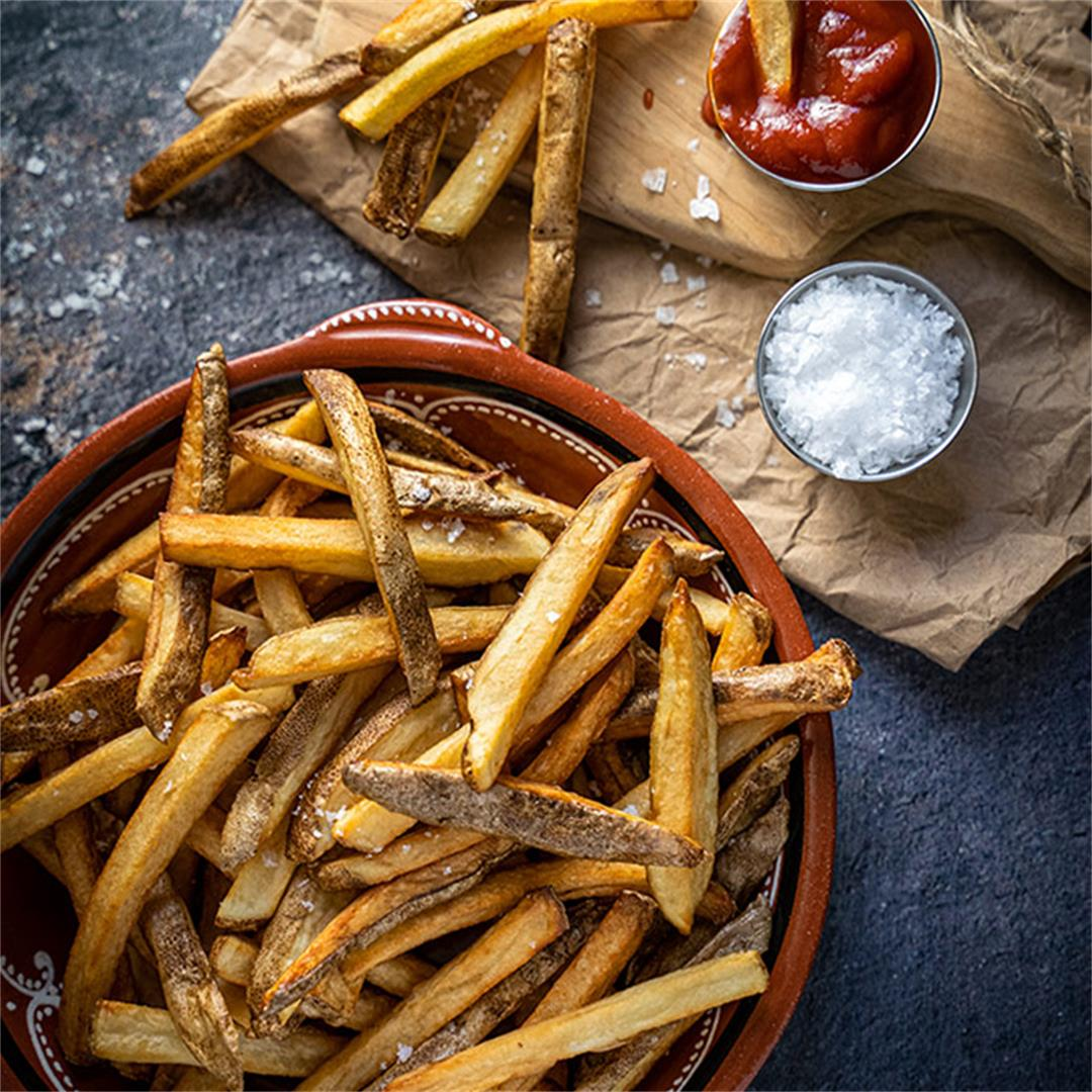 Homemade double-fried french fries