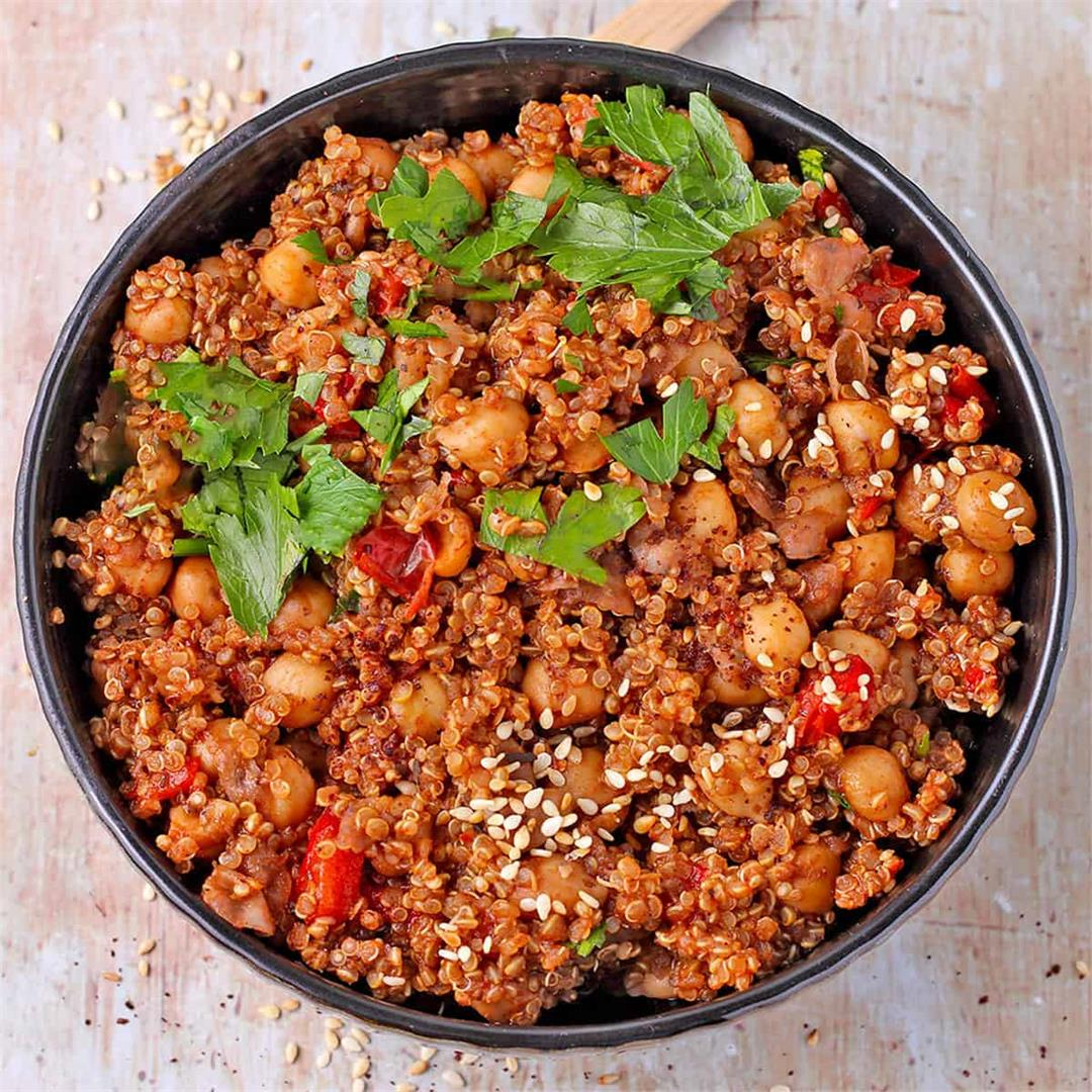Middle Eastern chickpeas and quinoa with Za'atar spice blend