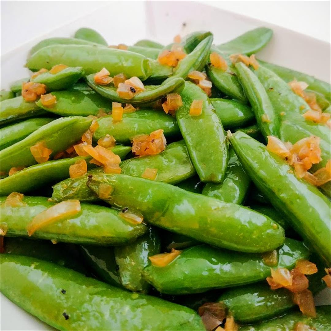 Soy and Onion Sugar Snap Peas