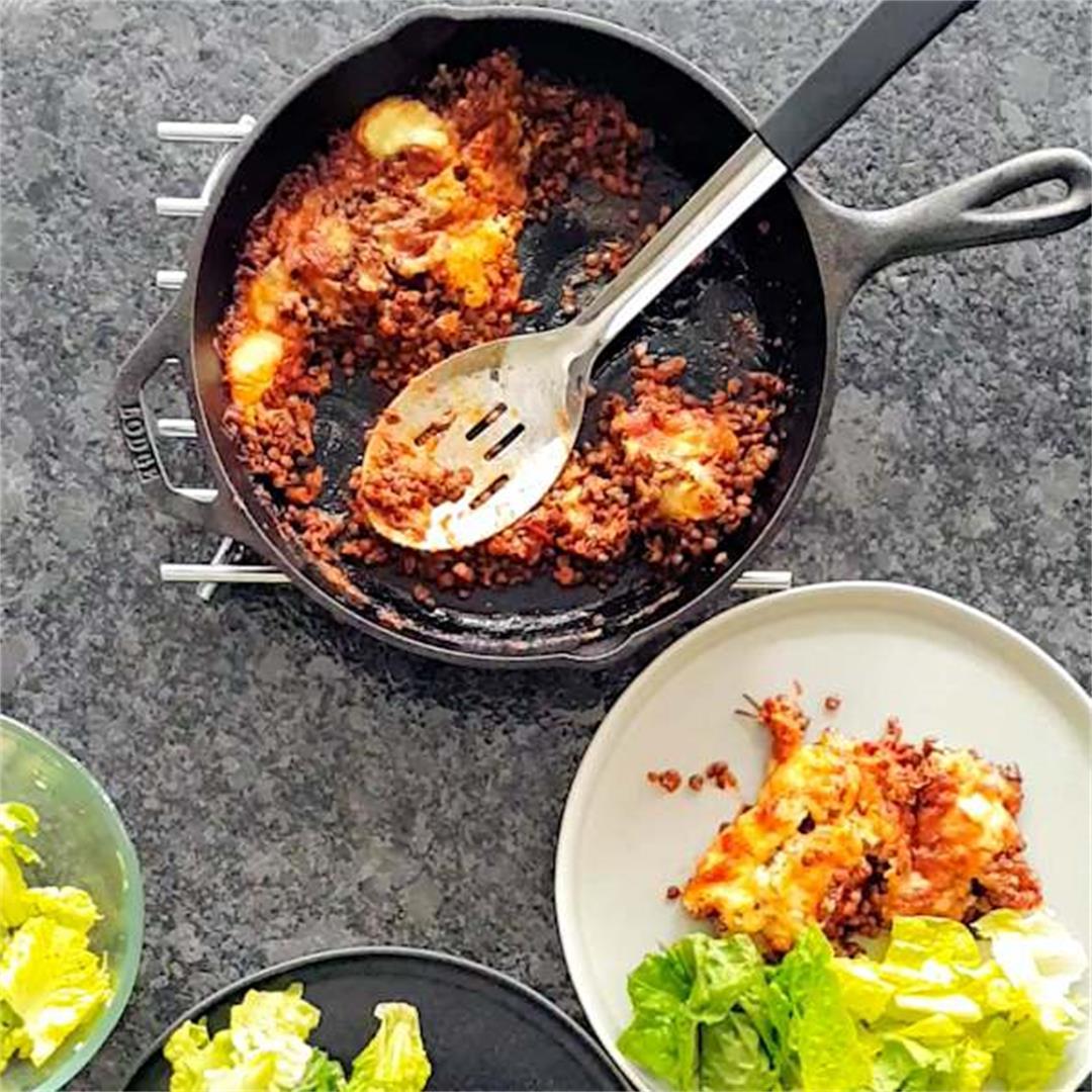 spicy cheesy lentils bake
