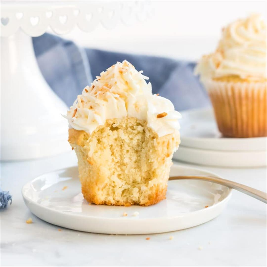 Fluffy Coconut Cupcakes with homemade Butterceam