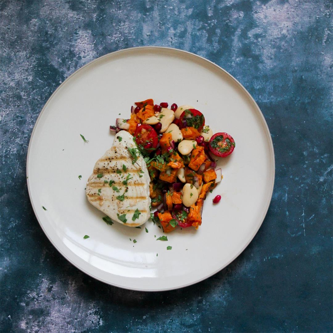 Tuna Steaks with Sweet Potato and Pomegranate Salad