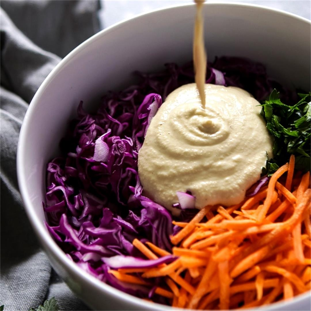 Easy Vegan Coleslaw with Creamy Cashew Mayo