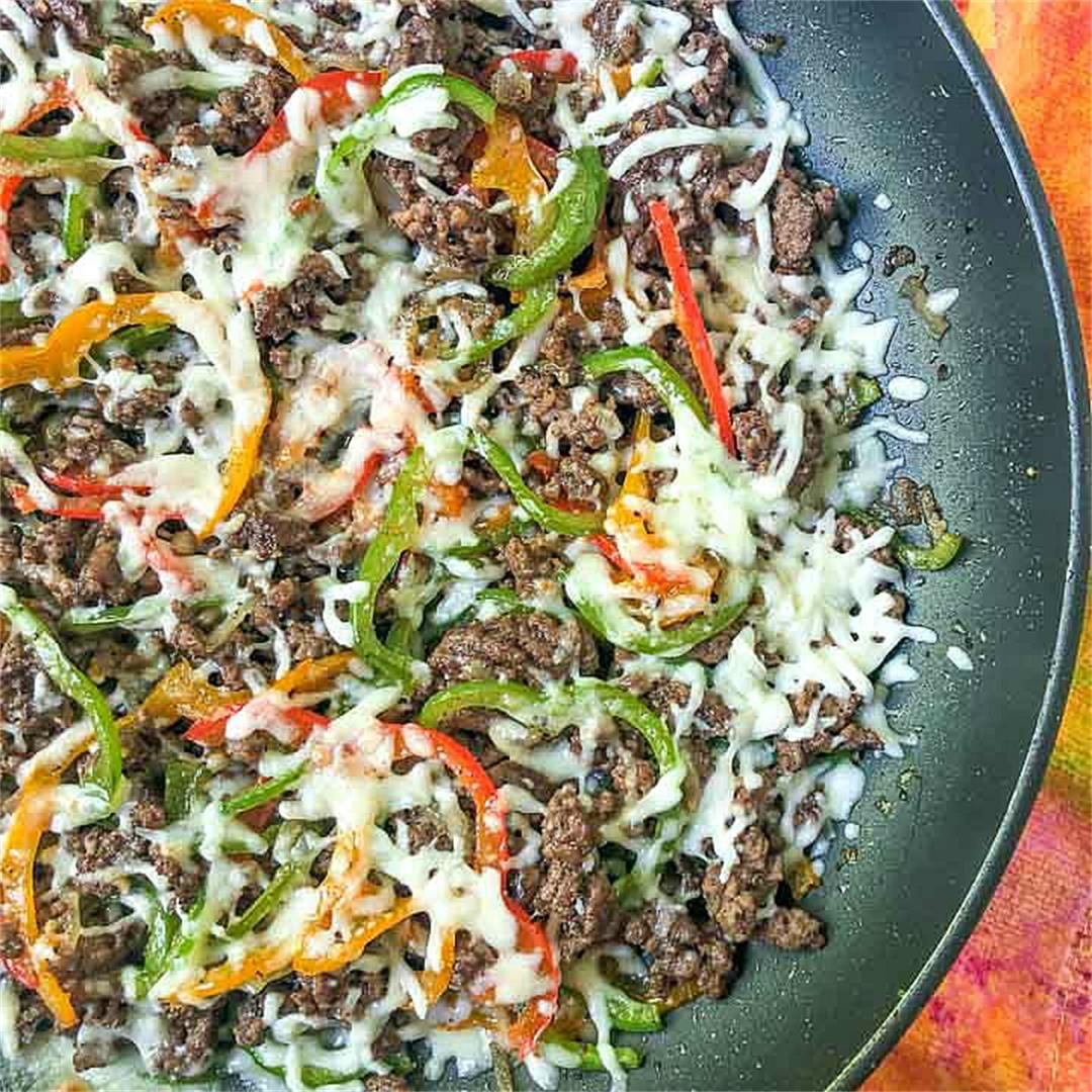 Low Carb Cheesesteak Skillet using Ground Beef in only 30 minut